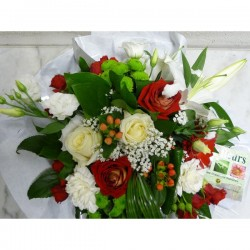 Bouquet rond rouge & Blanc