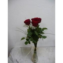5 roses rouges hauteur 60 cm