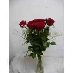 9 roses rouges hauteur 60 cm